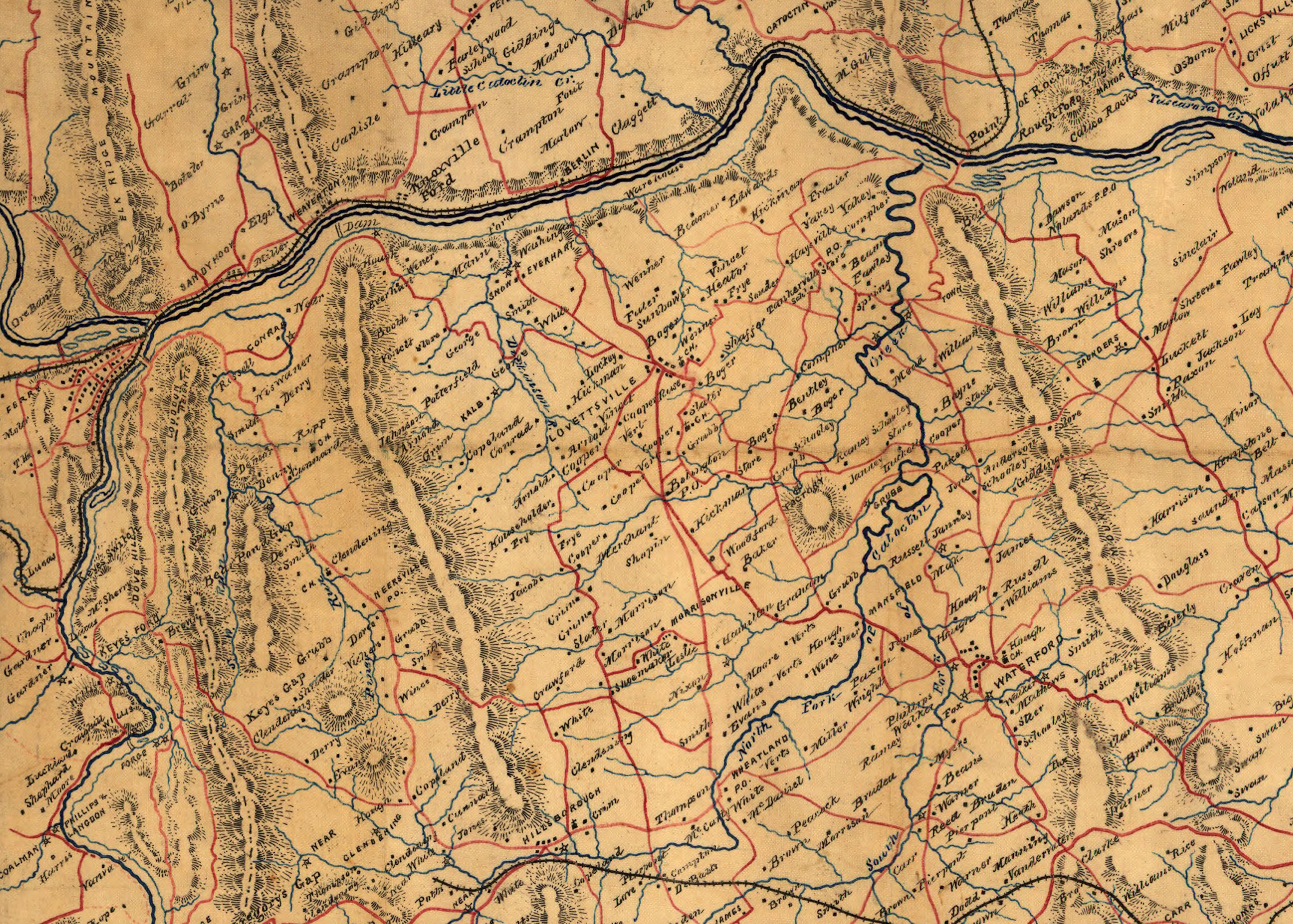 1863 5x7 Map of Fauquier and Loudon Va Card-Front