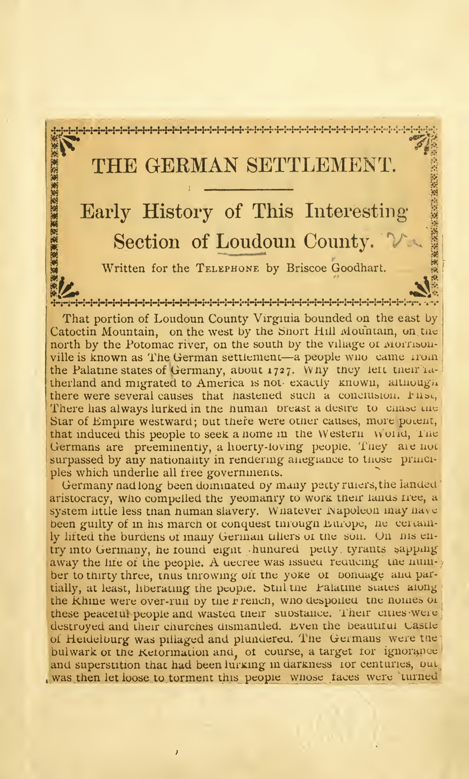 "Briscoe Goodhart Book ""The German Settlement"""