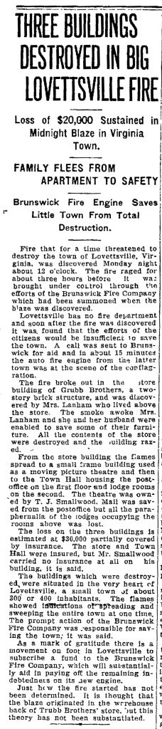 1923-09-10 Lovettsville Fire article cropped