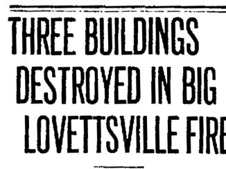 1923 Lovettsville Fire headline