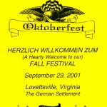 2001 Lovettsville Oktoberfest Booklet Cover