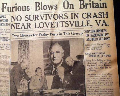 1940 Lovettsville Air Crash Newspaper Headline