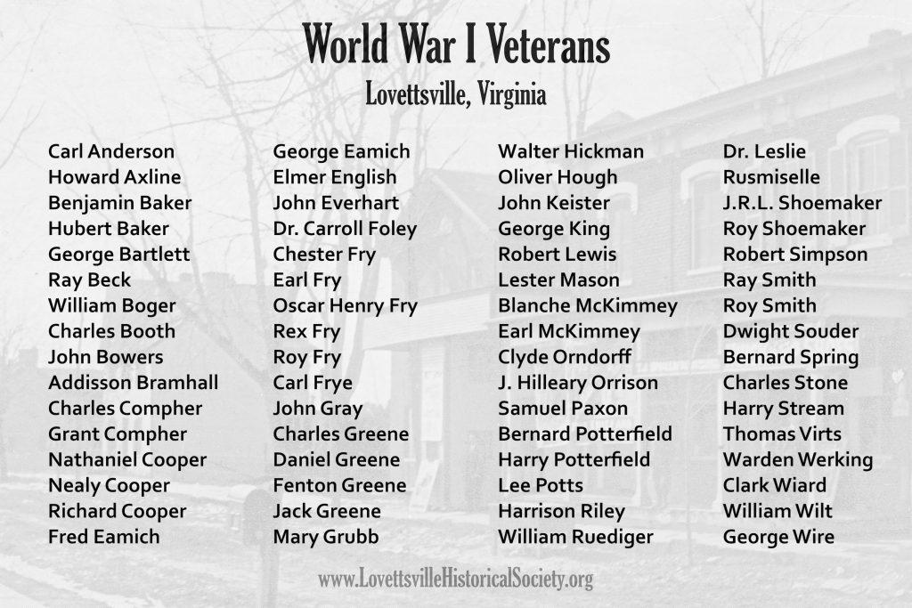 WWI Veterans of Lovettsville Poster 10x6