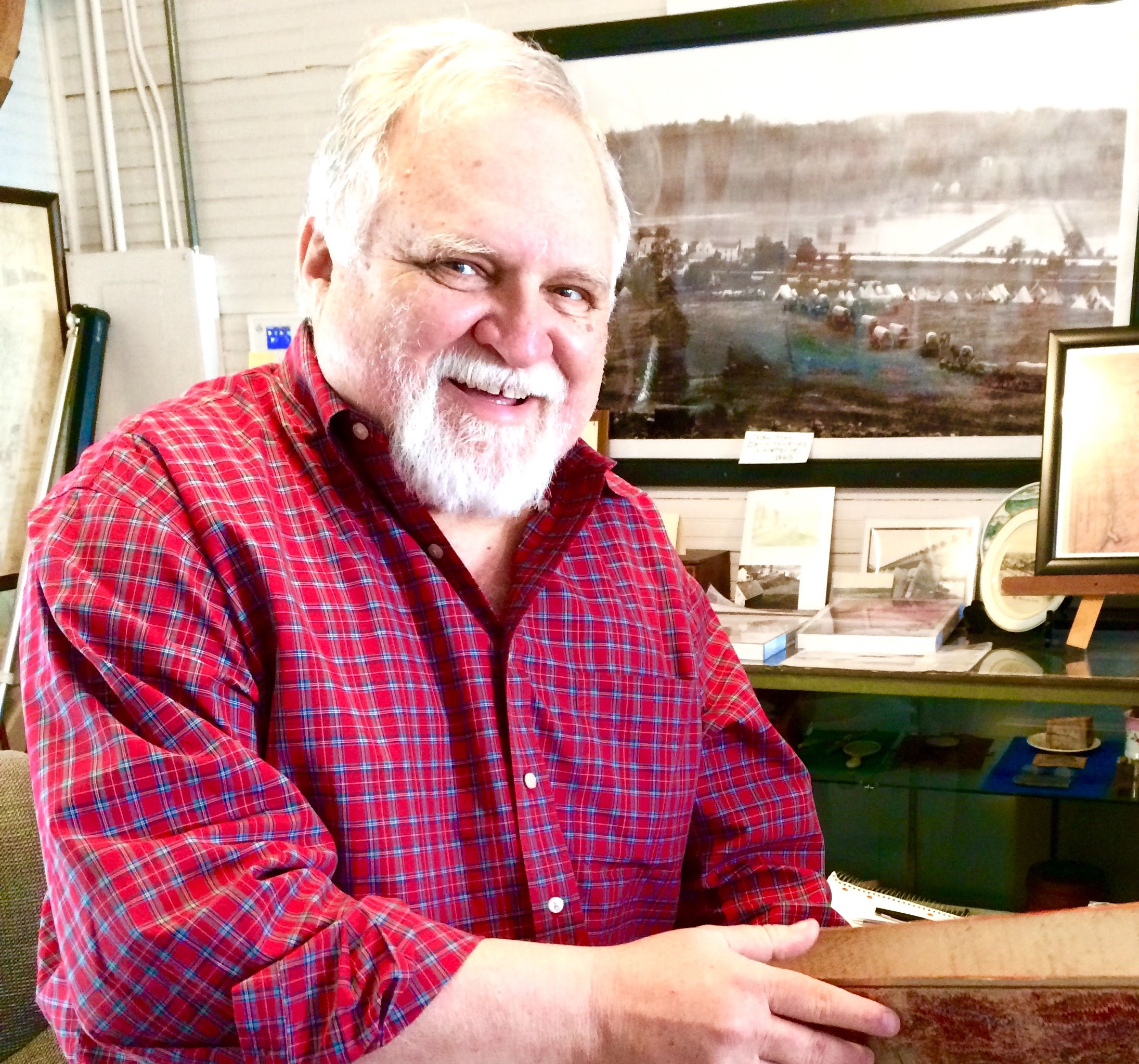 Larry Roeder at the Lovettsville Historical Society Holding Colored School Ledger Books_Feb 2017 cropped