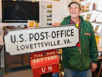 Fred George III with vintage Lovettsville mailbox, photographed by Eric Wickstrom of the Purcellville Gazette.