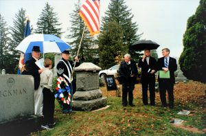 Dedication of restored Slater monument, 15 November 2008. Left to right: Michael Virts (Sons of Union Veterans), James Moore), Lee Stone (Sons of Union Veterans), Edward Spannaus (Military Order of the Loyal Legion of the United States), Pastor Joel Guttormson (New Jerusalem Lutheran Church), John Moore (Military Order of the Loyal Legion)