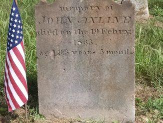 John Axline's gravestone at New Jerusalem Lutheran Cemetery, Lovettsville
