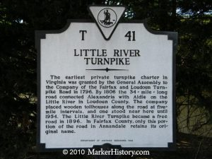 The Little River Turnpike was a project of Leven Powell.