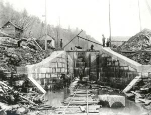Mercer proposed a nationwide canal network surveyed by the Corps of Engineers.  Here, work on the 1825 Erie Canal