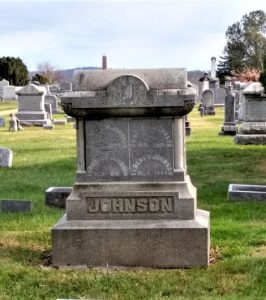 Charles Johnson family monument at front of Secttion B in Lovettsville Union Cemetery.