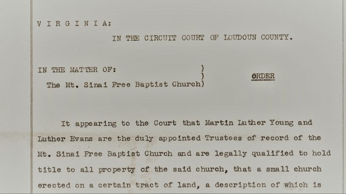 Portion of 1947 Court Order appointing Trustees for the Mournt Siniai Church property