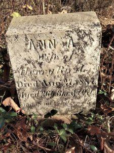 1887 marker for Ann America Paris, wife of Henry Bird.
