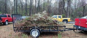 Brush and clippings ready to be hauled away. Truck and trailer provided by Daniel Cooper and Garry Orrison.