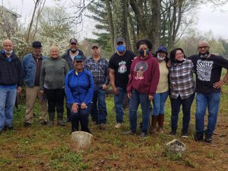 April 10 cleanup: Timbers and Lewis family and descendants with Ken Fleming who found and restored grave marker of Pvt. Samuel Timbers (at far left)