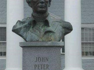 Gen. Peter Muhlenberg bust at courthouse, Woodstock VA