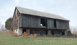 A bank barn in Shenandoah County VA that looks similar to how the Ruse barn may have looked. Photo courtesy Shenandoah County Historical Society.