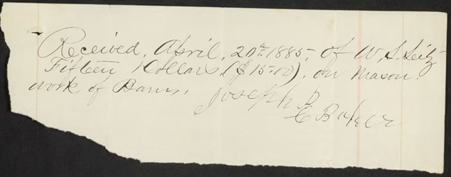 Receipt to Joseph C. Baker from W.S. Seitz for masonry work on the barn, Image from Library of Virginia's online chancery file.