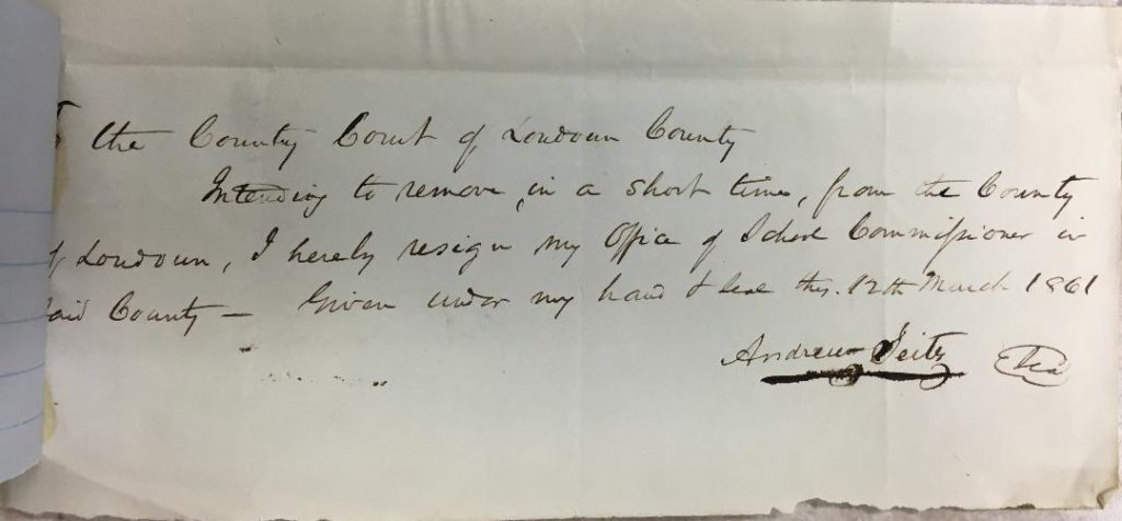 Andrew Seitz's notice of resignation as School Commissioner, dated March 12, 1861. Image courtesy of Gary Clemens, Clerk of the Circuit Court, Historic Records Department.