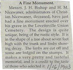 treestone nicewarner monument article